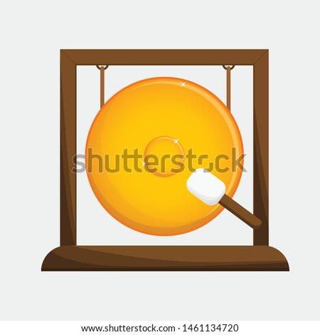 isolate gong illustration vector golden Сток-фото ©