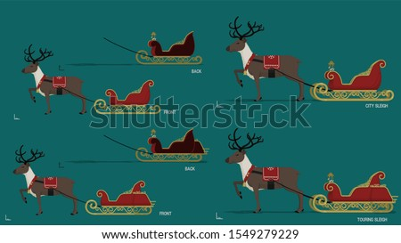 Isolate sleigh with reindeer. There are 2 type of sleigh, city type and touring type. They are separated front layer and back layer  for  putting some object into the sleigh.