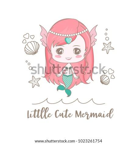 isolated a little cute mermaid