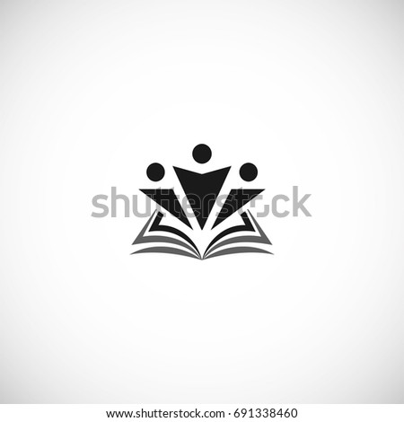 Isolated abstract black color education and learn logo, university and school book, graduate  human silhouettes logotype on white background vector illustration. Teaching symbol