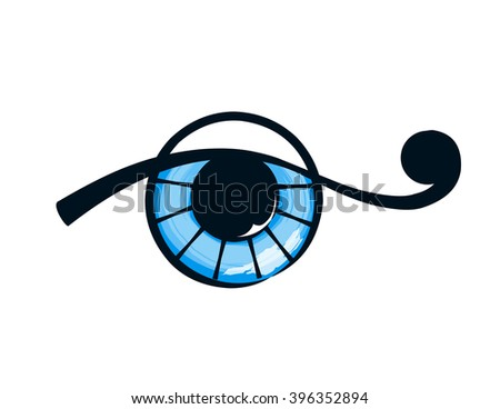 isolated abstract blue eye on