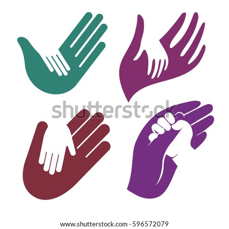 Isolated abstract colorful child and adult hand in hand logo set, kid touching parent palm logotype collection on white background.