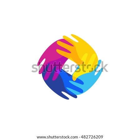 Isolated abstract colorful human hands together logo. Kids playroom logotype. Kindergarten sign. Children handprints in paint symbol. Art school emblem. Vector illustration.