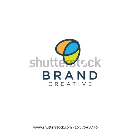 Isolated Abstract Colorful Oval Logo. Oval Shape Rainbow Logotype