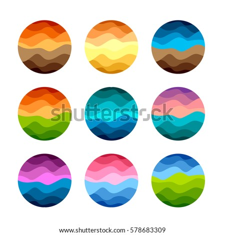 Isolated abstract colorful round shape logos set on white background vector illustration