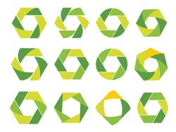 Isolated abstract green hexagon and round logo. Geometric eco logotypes set on white background. Organic products icon. Natural elements sign. Vector circulation illustration