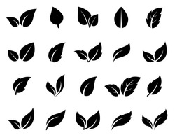 Isolated abstract leaves icons set on white background.