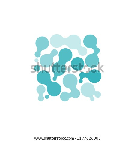 Isolated Abstract Liquid Blobs Composition, Organic Pattern, Logo Symbol, Chemical Bubble Cellular Microscopic Oil Algae Pockets Molecular Science Laboratory Class School, Turquoise Cyan Fluorescent