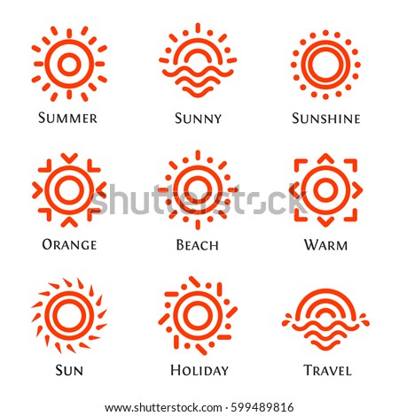 Isolated abstract round shape orange color logo set, sun logotype collection vector illustration
