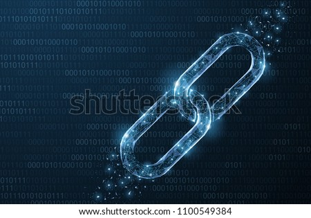 Isolated Abstract Vector chain. Wireframe chain element on blue background. Link protection, blockchain technology, cooperation symbol. Communication, security, internet safety, connect concept.