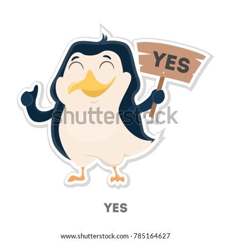 isolated agreed cartoon penguin