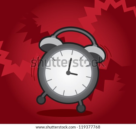 Isolated alarm clock ringing and shaking