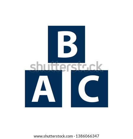 Isolated alphabet cubes icon symbol on clean background. Vector abc block element in trendy style.