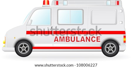 isolated ambulance car silhouette on white background - stock vector