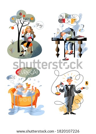 Isolated Archimedes in bathtub shouting eureka, Newton sitting under apple tree, Mendeleev sleeping on table, Edison switching on lamp. Great discover character set. Vector illustration Сток-фото ©