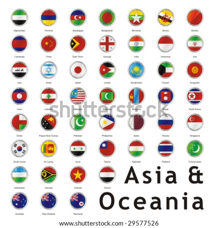 isolated asian flags