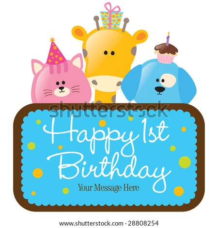 Isolated baby animals with first birthday sign (blue)