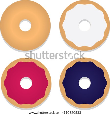Isolated bagels with various toppings