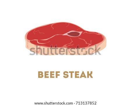 Isolated beef steak on white background. Fresh raw meet.