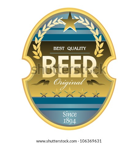 Isolated beer label with blue and golden elements
