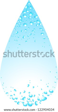 isolated big water drop silhouette with many elements