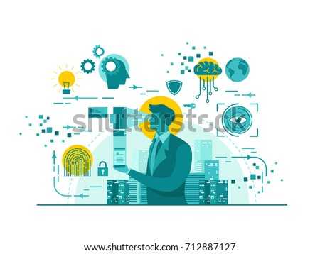 Isolated Biometric Device Technology Start Up Business Concept Illustration - Shutterstock ID 712887127