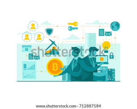 Isolated Bitcoin Technology Start Up Business Concept Illustration