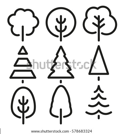 Isolated black and white color trees in lineart style set, forest,park and garden flat signs collection