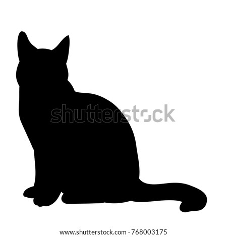 isolated, black silhouette of a cat sitting