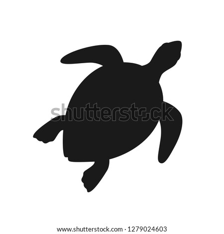 Isolated black silhouette of marine green turtle on white background. Top view. View from above.