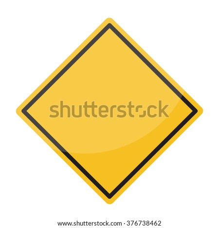 Isolated Blank Yellow Sign - Empty Yellow Symbol isolated on white background #376738462