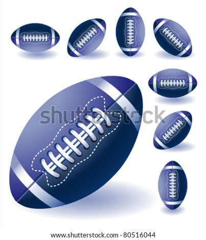 Isolated blue american footballs on the bright  background with lines