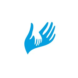 Isolated blue and white vector hands logo. Orphanage emblem. Family sign. Children care image. Adoption illustration. Child raising kindergarden icon. Charity for orphans. Help kids campaign.