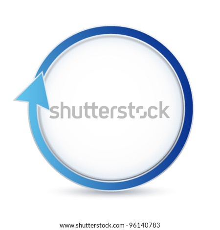 Isolated blue circular arrow with place for text (cycle circle). Vector illustration on white background. Useful for banner design,  business concept or web ad