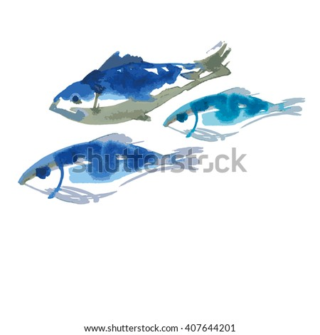 isolated blue fish food set