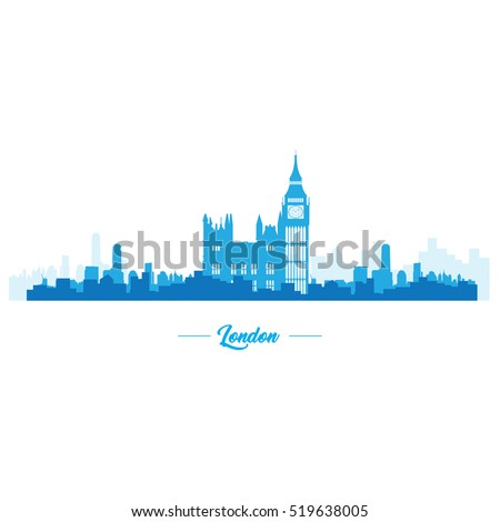 isolated blue skyline of london