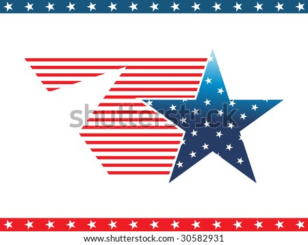 star with us flag and blue, red star pattern border - stock vector