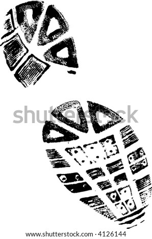 Isolated BootPrint - Highly detailed vector of a walking shoe