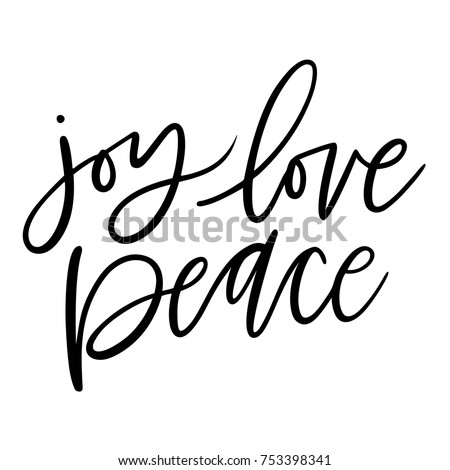 Isolated brush hand lettered vector holiday Joy Love Peace text or phrase.  Hand written calligraphy Christmas or Xmas quote or words on a white background.