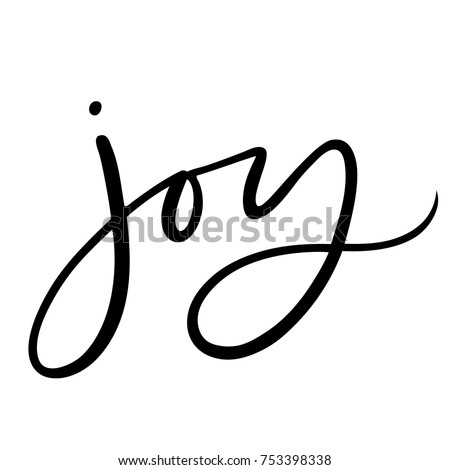 Isolated brush hand lettered vector holiday Joy text or phrase.  Hand written calligraphy Christmas or Xmas quote or words on a white background.