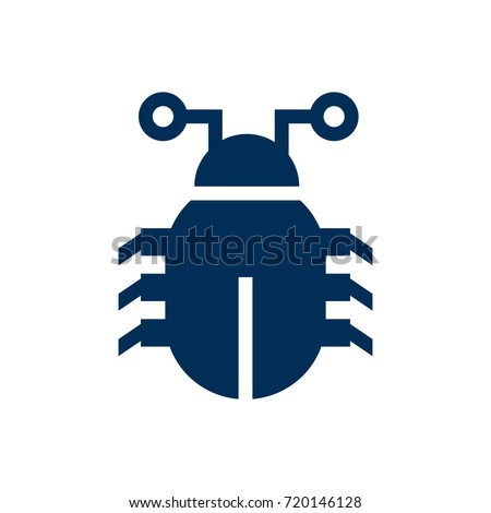 Isolated Bug Icon Symbol On Clean Background. Vector Virus  Element In Trendy Style.