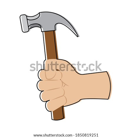 Isolated build hammer activity home with hands icon- Vector