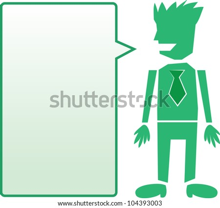 Isolated business man with tie and green blank speech bubble