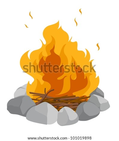 isolated campfire on a white