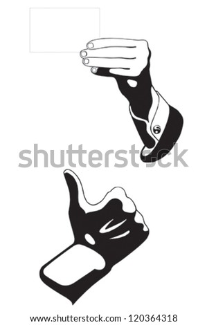 Isolated: card blank with hand on white background.Business man hand with thumb up. Vector illustration
