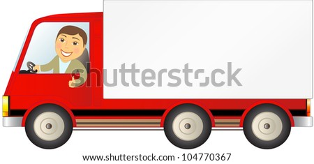 isolated cargo truck with man showing thumb up and space for text - stock vector