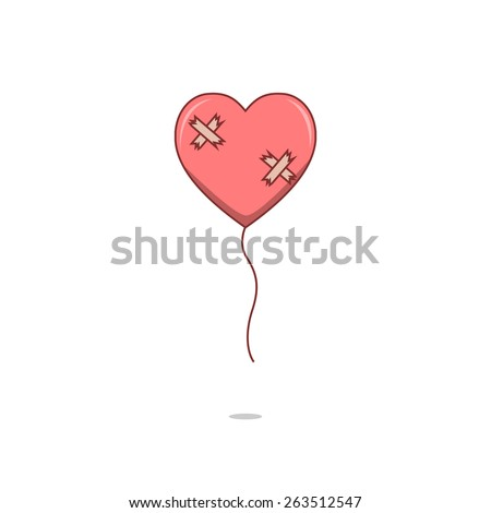 isolated cartoon broken heart