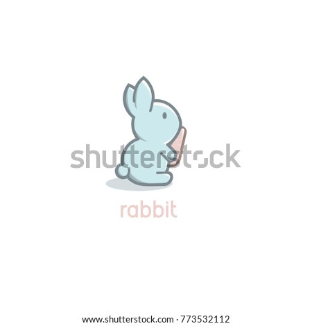 Isolated cartoon cute blue rabbit baby with orange carrot logo on white background. Happy Easter Day vector icon template.