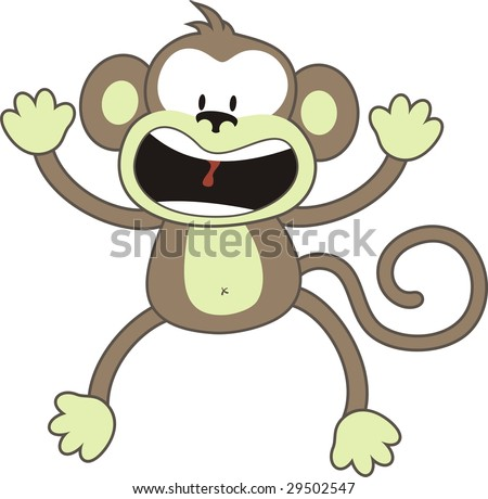 isolated cartoon monkey, individual objects very easy to edit - stock vector