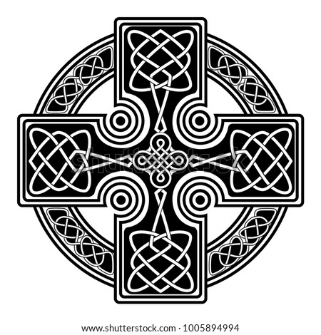 isolated Celtic cross from national Scandinavian ornament. Symbol of Druids, Ireland and Scotland Stock photo ©